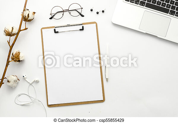 clipboard mockup flat lay home office workspace mock up template