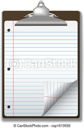 Clipboard School Ruled Notebook Paper Corner Page Curl - csp1610559