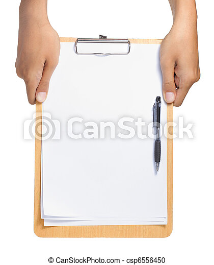 Clipboard with blank paper and pen - csp6556450