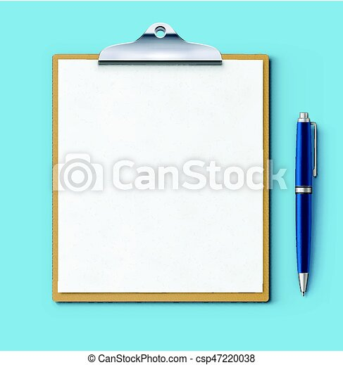 Clipboard with blank paper - csp47220038