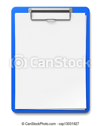 Clipboard with blank sheets of paper - csp13031927