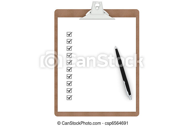 Clipboard with Checklist and  Pen  - csp6564691