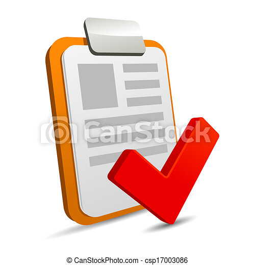 Clipboard with checklist on white background - csp17003086