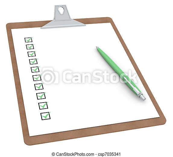 Clipboard with Checklist X 10 and Pen - csp7035341
