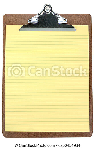 clipboard with yellow notepaper - csp0454934