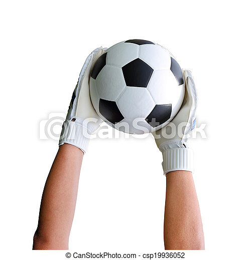 Cliping path include. Goalkeeper (termed goaltender, netminder, goalie) is a designated player charged with directly preventing the opposing team from scoring by intercepting shots at goal. - csp19936052