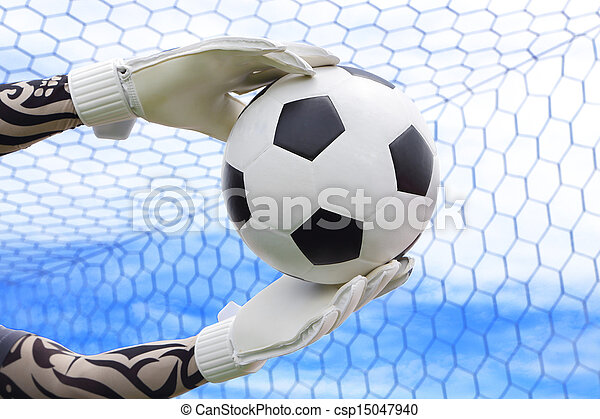 Cliping path include. Goalkeeper (termed goaltender, netminder, goalie) is a designated player charged with directly preventing the opposing team from scoring by intercepting shots at goal. - csp15047940