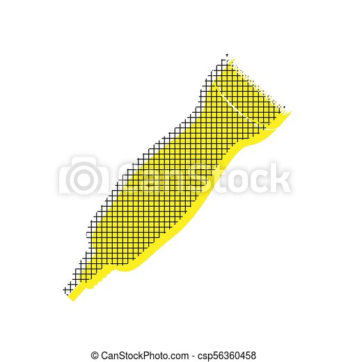 Clipper sign illustration. Vector. Yellow icon with square patte - csp56360458