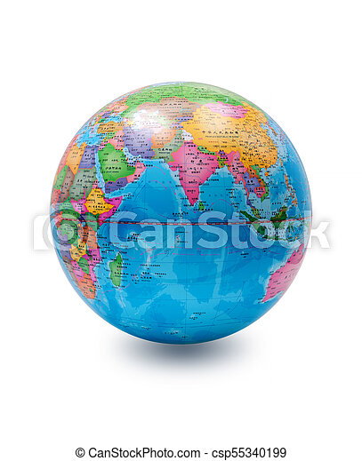 (Clipping path) World globe isolated on white background - csp55340199