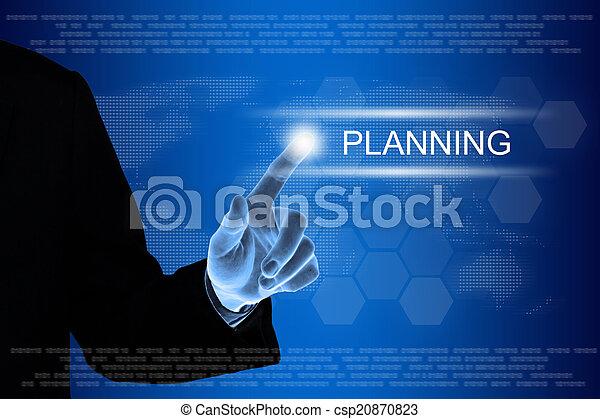 cliqueter, business, toucher, planification, écran, main, bouton - csp20870823
