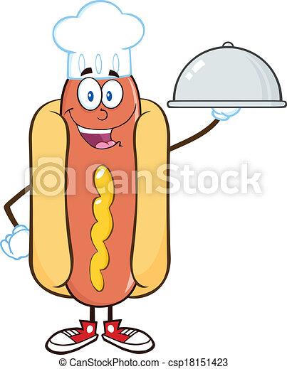 cloche, chef cuistot, plateau chaud, chien - csp18151423