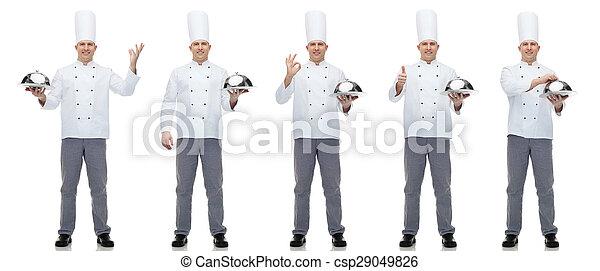 cloche chef cuistot tenue cuisinier m le heureux photo de stock rechercher images et. Black Bedroom Furniture Sets. Home Design Ideas
