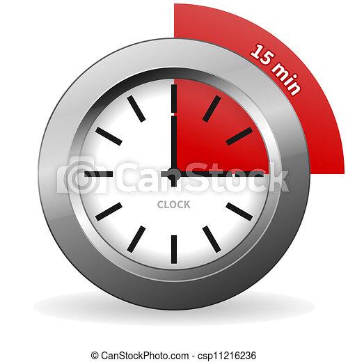 Clock 15 Minutes To Go - csp11216236