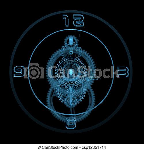 Clock (3D xray blue transparent) - csp12851714