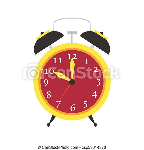 Clock alarm vector icon time isolated. Wake up background illustration watch sign timer object minute hour - csp53014370