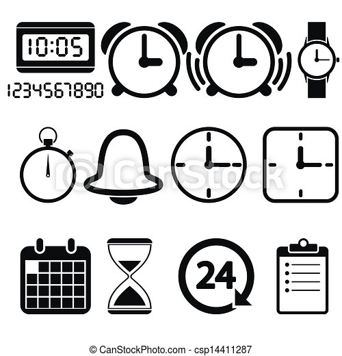 Clock and time icons - csp14411287