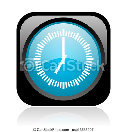 clock black and blue square web glossy icon - csp13535297