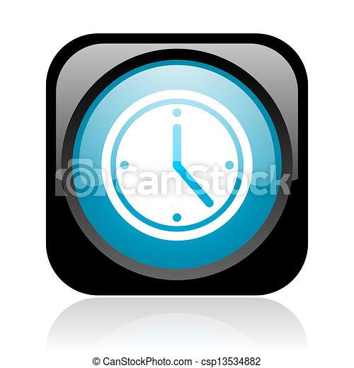 clock black and blue square web glossy icon - csp13534882