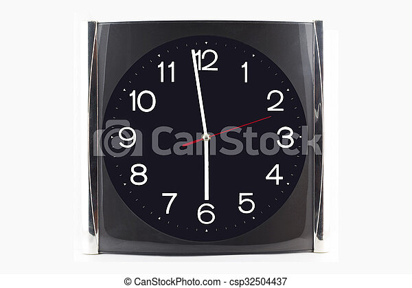 Clock black-grey stainless on the wall and table isolated on white background.  - csp32504437