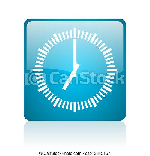 clock blue square web glossy icon - csp13345157