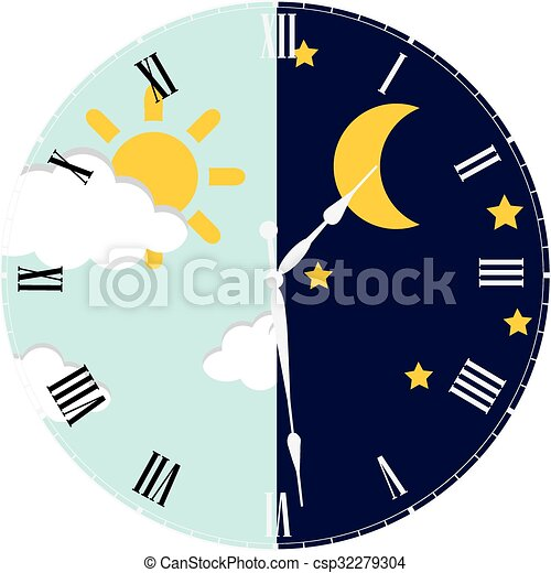 clock day and night concept clock with day night concept vector rh canstockphoto com call night clip art call night clip art