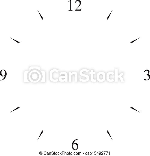 clock dial black 12 3 6 and 9 signs - csp15492771