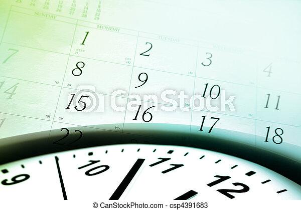 Clock face and calendar - csp4391683