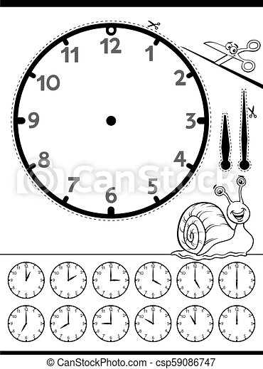 clock face educational worksheet for kids - csp59086747