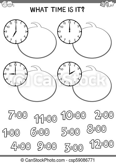 clock face educational worksheet for kids - csp59086771