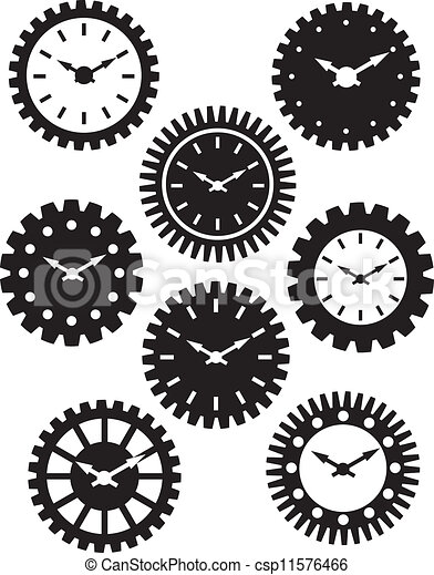 Clock Face in Gears Silhouette Illustration - csp11576466