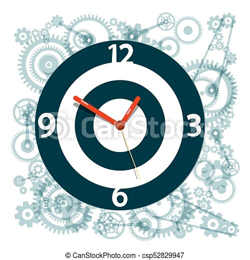 Clock Face Symbol with Cogs on Background - csp52829947