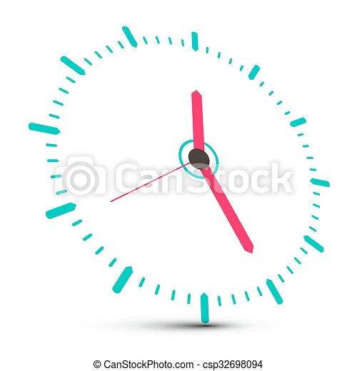 Clock Face Vector Illustration Isolated on White Background - csp32698094