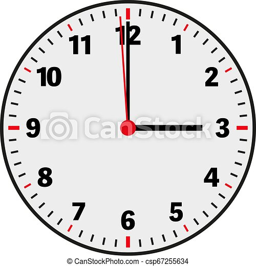 clock face vector illustration showing 3 o'clock on white - csp67255634