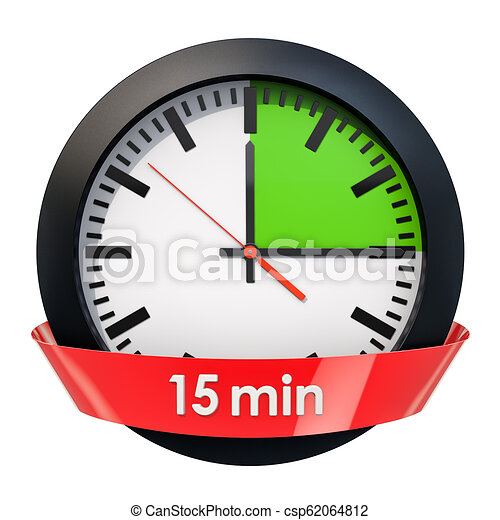 clock face with 15 minutes timer 3d rendering isolated on white