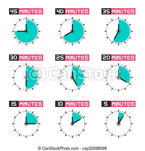 Clock Face with Different Time Vector Illustration Set Isolated on White Background - csp32698098