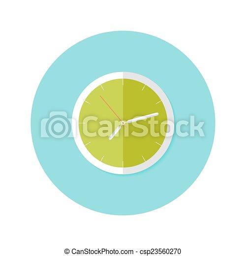 Clock Flat Circle Icon over Blue - csp23560270