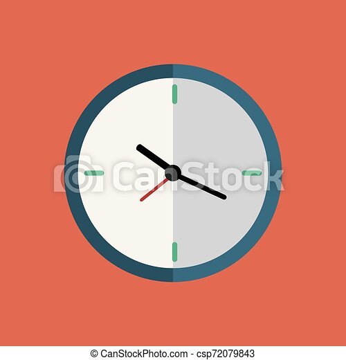 Clock flat icon on red background with long shadow. - csp72079843
