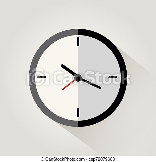 Clock flat icon on white background with long shadow - csp72079603