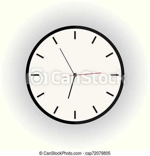 Clock flat icon on white background with long shadow. - csp72079805