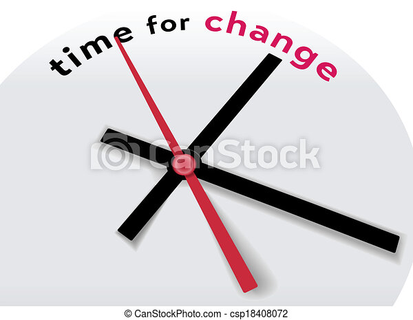 Clock hands tell Time for a change - csp18408072
