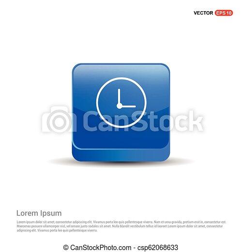 Clock Icon - 3d Blue Button - csp62068633