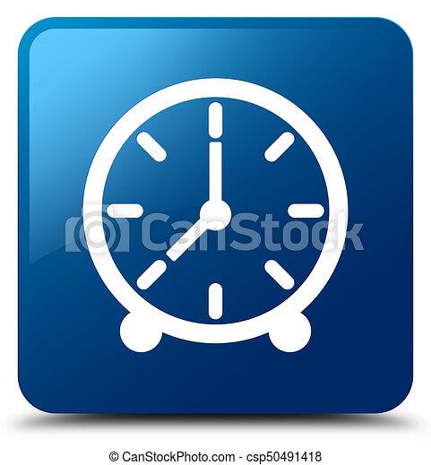 Clock icon blue square button - csp50491418