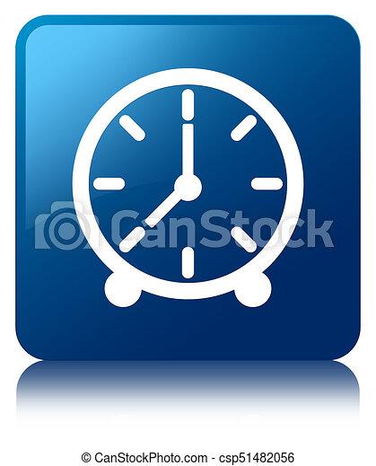 Clock icon blue square button - csp51482056