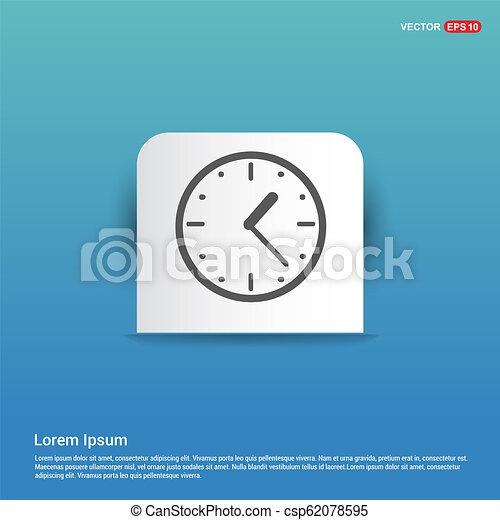 clock Icon - Blue Sticker button - csp62078595
