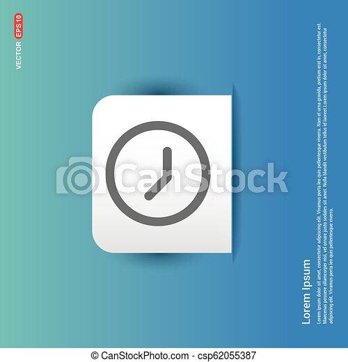 Clock Icon - Blue Sticker button - csp62055387