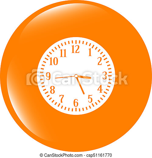 Clock icon button . Flat sign isolated on white background - csp51161770