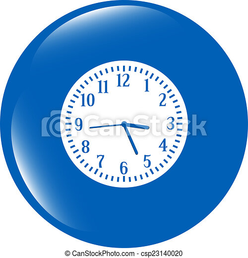 Clock icon button isolated on white background - csp23140020