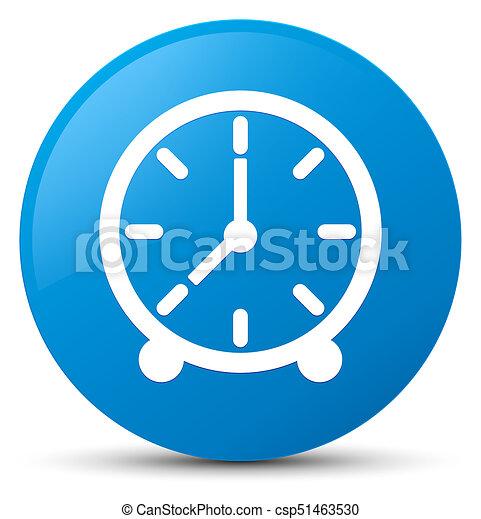 Clock icon cyan blue round button - csp51463530