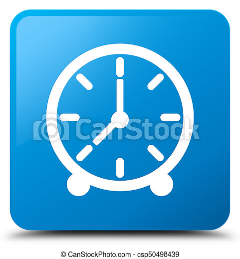 Clock icon cyan blue square button - csp50498439