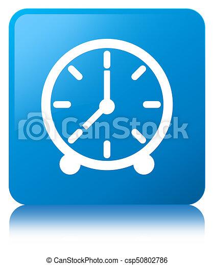 Clock icon cyan blue square button - csp50802786